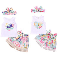 Wholesale baby lace set for sale - Group buy kids designer clothes girls outfits children Heart top Lace floral shorts with headband set Summer baby Clothing Sets color C6511