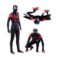 hombre zentai al por mayor-Adulto Hombres Niños Spider-Man En el verso de araña Miles Morales Cosplay Disfraz de Zentai Spiderman Body Body Traje Monos