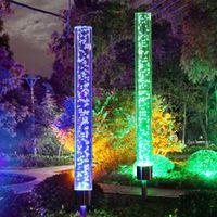 ingrosso luci solari acriliche-2pcs Solar Garden Lights Outdoor Solar Acrilico Bubble RGB Colore che cambia Solar Powered Stake Lights per Garden Patio Backyard Pathway Decor