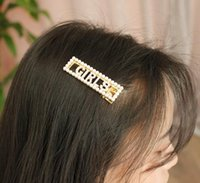 Wholesale asian hair bangs resale online - Ms hollowed out millet beads rectangular hairpins English alphabet diamonds bangs clips fast delivery