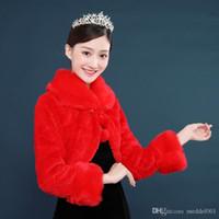 formale schals kleiden jacken großhandel-Formelles Bankett Dame roter Schal langer Ärmel Mantel Jacke Schulter warmes Hochzeitskleid Zubehör Wollschal