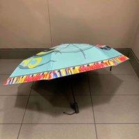 radios de colores al por mayor-NUEVO patrón clásico azul colorido paraguas plegable para mujer verano color azul 3 veces paraguas de lujo paraguas de lluvia regalo VIP con caja