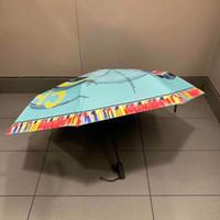mavi hediye kutuları toptan satış-YENI Klasik desen mavi renkli Şemsiye Kadınlar Için katlanır yaz mavi renk 3 Fold Lüks Şemsiye Yağmur Şemsiye VIP hediye kutusu ile