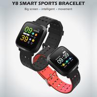 herzpulsuhr wasserdicht großhandel-Y8 wasserdichtes intelligentes Armband-Herzfrequenz-Impuls-Blutdruck-Monitor trägt intelligentes Armband für iphone androide Telefon intelligente Uhr zur Schau