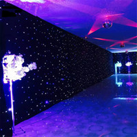 controlador de cortina led al por mayor-3 mx 4 m Negro DJ DMX LED Star Cloth telón de fondo con LED Starlight con controlador LED Estrella de tela Cortina de luz Iluminación de escenario Decoración