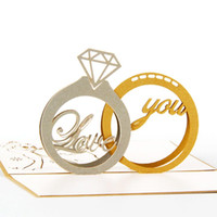 Wholesale love pop cards resale online - Romantic D Pop Up Diamond Couple Ring Postcards for Valentine Day Love You Greeting Cards with Envelope Kirigami Gift