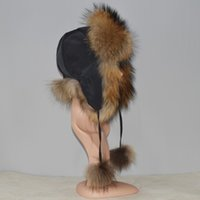 Wholesale fox bomber hats resale online - New Arrival Fur Hat For Women Real Natural Raccoon Fox Fur Russian Ushanka Hats Winter Thick Warm Ears Fashion Bomber Cap