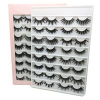Wholesale real mink eye lashes resale online - ups Pairs mm False Eyelashes book D D Faux Mink Eyelashes Handmade Fluffy Eye Lashes Real Mink Lashes Makeup Thick Fake Eyelashes