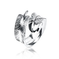 Wholesale ring feathers for sale - Group buy 2018 Promotion Sale Rings Anillos Anel S925 Ornament Retro Thai Feather Opening Ring Chuqiaochuan And Women Li ying Zhao