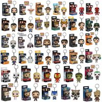 Wholesale luffy toys resale online - FUNKO POP New Marvel Spider Chivalrous U S A Captain Pikachu One Piece Luffy IT Law Harri potter KeyChains toy for children gift