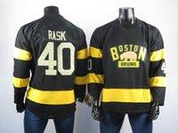 bruins hokeyi formaları toptan satış-2018 Boston Bruins Formaları En Iyi Oyuncu 40 Tuukka Rastgele Forması Yüksek Kaliteli Işlemeli erkek Buz Hokeyi Formalar Dikişli S-2XL