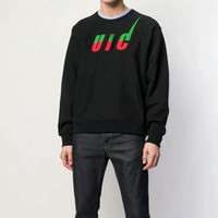 suéter de algodón negro al por mayor-19FW Suéter de impresión de patrón negro europeo de lujo Moda Cómoda sudaderas con capucha de algodón sueltas Hombres Mujeres Parejas Suéter de diseño HFYYWY012