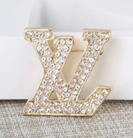 Wholesale 2019 Luxury Designer Exquisite Double Letter Brooch For Women Statement Brand Fashion Brooches Pins Accessories Jewelry Gift