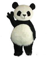 maskotlar saç toptan satış-Uzun Saç Panda Ayı Maskot Kostüm Yetişkin Maskot erkek Parti ve sevgililer Günü için Şükran Günü Noel Cadılar Bayramı ve Yeni Yıl