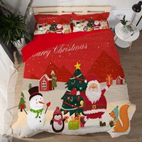 Wholesale bedding set merry christmas for sale - 3 D Cartoon Bedding Sets Merry Christmas Gift Santa Claus Bedclothes Duvet Quilt Cover sheet Pillowcases kid adult gift