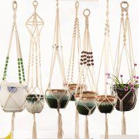 vasos de parede venda por atacado-Pot Hanger Handmade Macrame Planta Hanger Flower Pot Hanger Juta Retro Pote De Flor Pendurado Corda para Varanda Da Parede Decorações M288