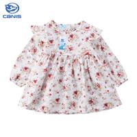 bebekler rahat kıyafetler için elbiseler toptan satış-CANIS 2019 Yeni Nokta Uzun Kollu Elbise Kız Giyim Bebek Kız Genç Okul Günlük Giyim Çocuklar Rahat Giysiler Çiçek giysi