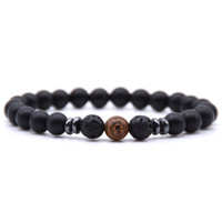 pulseiras de pedra colorida venda por atacado-Handmade colorido 8 MM Pulseira Pedra Natural Tiger Eye das Lava Men pulseira ta diferente Design Preto e mulheres