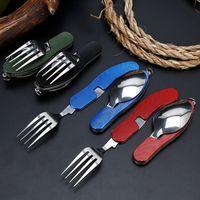 cuchillos de campo tenedor cuchara al por mayor-Vajilla para exteriores 4 en 1 (tenedor / cuchara / cuchillo / abrebotellas) Kits de bolsillo plegables de acero inoxidable para acampar para viajes de supervivencia ZZA920