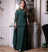 Wholesale long cape dresses for sale - Group buy Hunter Green Evening Formal Dresses with Long Cape Jewel Neck Gold Lace Full length Plus Size Arabic Saudi Occasion Prom Gown