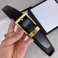 cinturones de cuero de calidad para hombre al por mayor-Cinturones de diseño Cinturón de lujo para hombres Cinturón de cuero para mujer Moda Oro Tigre Aguja Hebilla Ancho 34 mm Alta calidad con caja de regalo Opcional