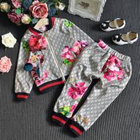 Wholesale flower jacket children resale online - 2pcs set letter Children Suit Spring Autumn Boy Girl Suit Flower Jacket Trouser Kids Clothes Casual Baby Girl Boy Set Costume gift FFA2765