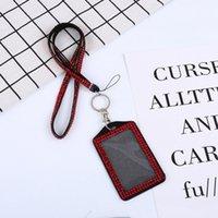 insignias de identidad de bling lanyards al por mayor-Titular del Rhinestone de la tarjeta de identificación cristalino del acollador de Bling del diamante collar correa para el cuello insignia con sostenedor de la identificación y llavero KKA7677