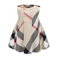 avrupa yaz çocuk giyim toptan satış-Çocuklar kızlar 2-8years Ekose elbise Avrupa ve Amerikan tarzı Yaz moda elbise çocuk giysileri