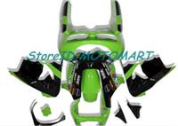 zx9r обтекатель черный оптовых-Мотоцикл Обтекатели Набор для NINJA ZX9R КАВАСАКИИ 98 99 ZX9R ZX 9R 1998 1999 Зеленый черный обтекателя комплект KM20