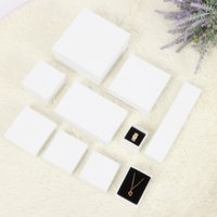 Wholesale jewellery packaging resale online - Hot sale multi size Spot white jewelry packaging box necklace earring ring box paper gift boxes for jewellery packaging