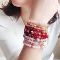 ingrosso perline acriliche di halloween-Nuovi monili di modo bordano il braccialetto Handmade multi strato del cristallo acrilico della resina del bordo bordato i regali delle donne del braccialetto