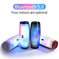 Wholesale music box flash player for sale - Group buy TG165 Portable Bluetooth Speaker Stereo Leather Column Flash Style LED Subwoofer W Wireless Outdoor Music Box FM Radio TF Card