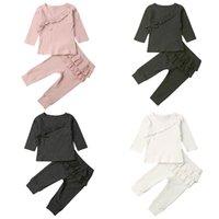blusas volantes al por mayor-19 20Autumn chica ropa de bebé bebé de los niños con volantes medias blusa del juego de pantalones de deporte
