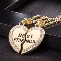 Wholesale best mens gold chains resale online - Stylish Jewelry Unisex Bff Necklace Best Friend Mens Womens Heart Pendant Necklace Couple Harf Kolye Gold color Chain