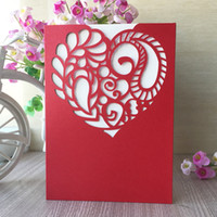 Wholesale white paper hearts resale online - luxury elegant white love heart hollow laser cut pearl paper Envelope wedding invitation birthday party card supplier business dinner