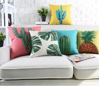 tropische kissenbezüge großhandel-6 Arten Kaktus Ananas Kissenbezug ins frische Palm Tree Leaf Tropical Plant Kissenbezüge Kissenbezug Schlafzimmer Sofa Decor 45 * 45 cm FFA2574