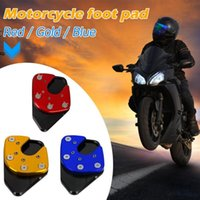 Wholesale aluminum base plates resale online - Motorcycle Foot Kickstand Extension Pad Plate Non slip Side Stand Base Aluminum Red Gold Blue Compact and Durable