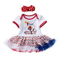 ingrosso vestiti 4 luglio-Le neonate si vestono con l'hairband delle bambine del vestito da giorno del modello di indumento delle indumenti da notte delle ragazze neonate del quarto luglio