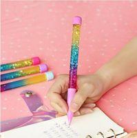 Cute 0.5mm Fairy Stick Ballpoint Pen Drift Sand Glitter Crystal Pen Rainbow Color Creative Ball Pen Kids Gift Novelty Stationery GB17