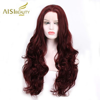 Wholesale black hair red wine resale online - Aisi Beauty Inch Wavy Wine Red Synthetic Hair Lace Front Wigs For Women Colors Ombre Black Pink Hair Cosplay Y190717