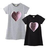 sevgi değişimi toptan satış-Çocuklar Giysi Tasarımcısı Kızlar Işlemeli Aşk Kısa Kollu Yuvarlak Boyun Elbise Pamuk Pullu Renk Değişikliği Yüz Uzun Etek