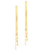 encantos da rosa amarela venda por atacado-Pure Real 18 K Yellow Rose Gold Au750 Charme Feminino Brincos Borla Flor Jóias para As Mulheres Festa de Casamento Brincos 8.5 cmL