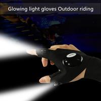 faser führte finger lichter großhandel-Led Glove Taschenlampe Luminous Angeln Handschuhe Breathaußenbeleuchtung Licht Handschuhe Fingerlicht Glühend Handschuhe Reit läuft