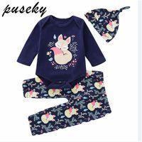 ingrosso cappelli di volpe di volpe-Puseky 0-18 M neonato neonato ragazza ragazzo manica lunga volpe cotone tuta top fiore lungo mutanda cappelli 3 pz autunno vestiti set