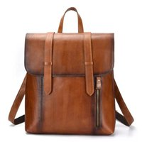 Wholesale genuine leather rucksack for sale - Group buy Brush Color Leather Men Backpack Genuine Leather Vintage Daypack Travel Casual School Book Bags Brand Male Laptop Bags Rucksack