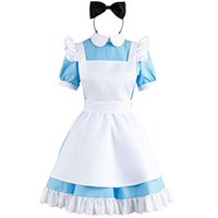Wholesale alice costume xl resale online - Alice in Wonderland Blue Maid Dress Cosplay Costume Outfit Suit Apron Version