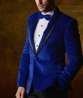 Wholesale royal blue velvet suit for men for sale - Group buy One Button African Royal Blue Velvet Groom Tuxedos For Groomsmen Best Man Wedding Suit Men s Suits Formal Business Prom Blazer Jacket Pants