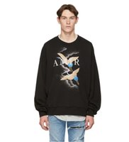 suéter de algodón negro al por mayor-Amiri diseñador grúa suéter hombres murciélago manga prendas de punto suéter cálido invierno suéter de algodón fácil hombres mujeres negro manga larga camisetas