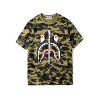 0aa8400784473 Brand Mens women Tshirt Camouflage Shark Printing Short-sleeved T Shirts  Tees Sweater Shirts Round Neck Tops M-2XL
