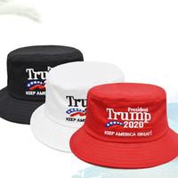 Wholesale white wide brim summer hat resale online - Trump Hat Embroidered Bucket Cap Keep America Great Hats USA Republican President Wide Brim Fisherman fashion Cap LJJA2890
